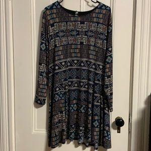 Mid length long sleeved dress